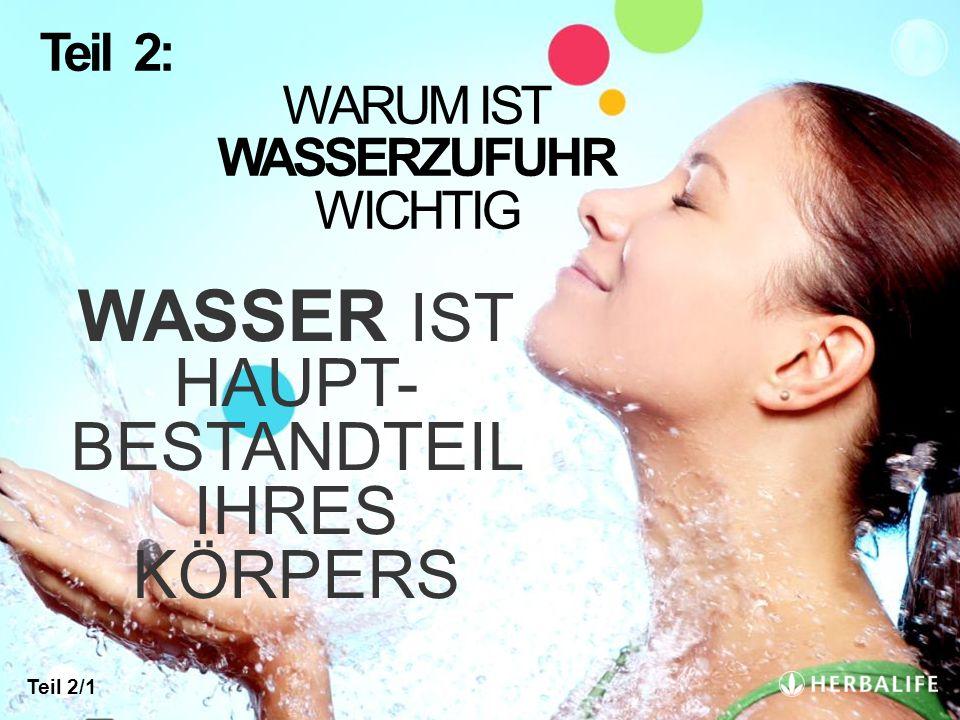 WASSER IST HAUPT- BESTANDTEIL IHRES KÖRPERS Teil 2: WARUM IST WASSERZUFUHR WICHTIG Teil 2/1