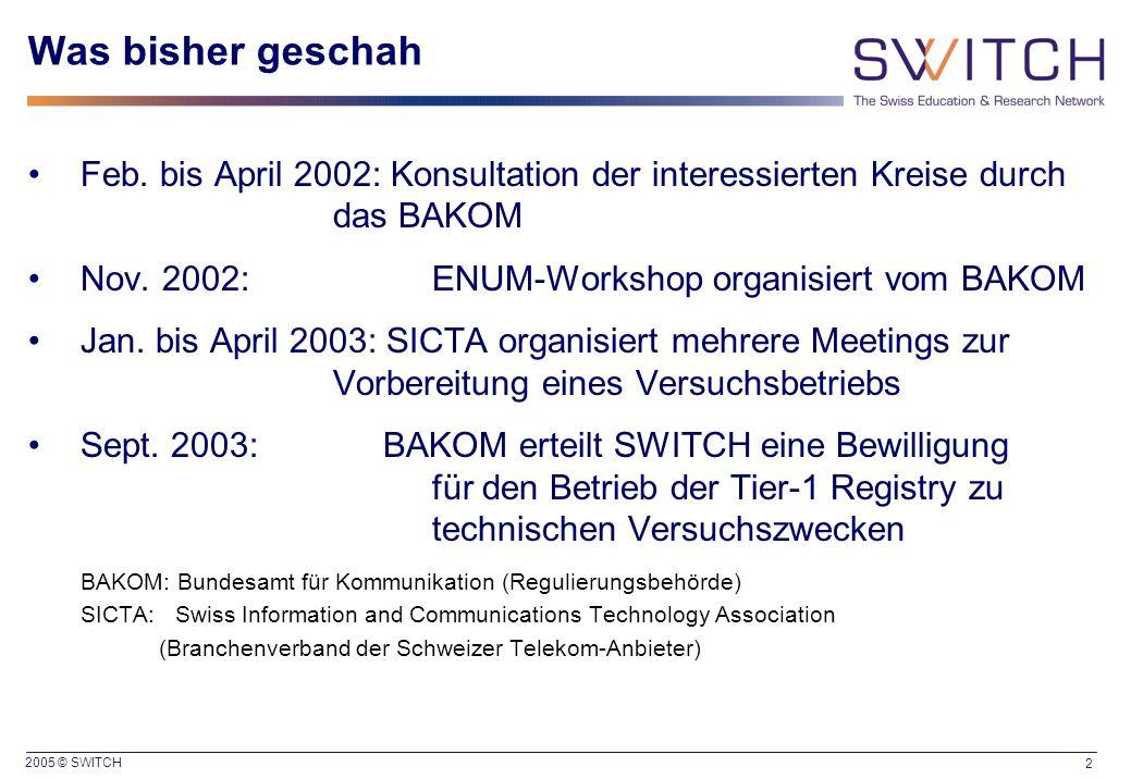 2005 © SWITCH 2 Was bisher geschah Feb. bis April 2002: Konsultation der interessierten Kreise durch das BAKOM Nov. 2002: ENUM-Workshop organisiert vo