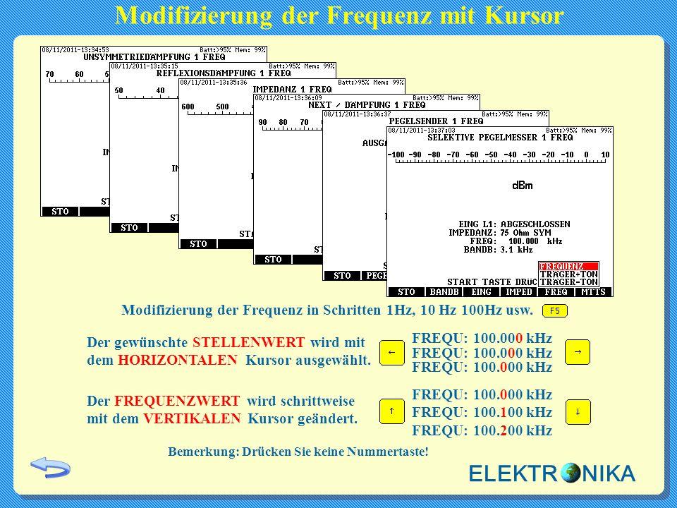 Modifizierung der Frequenz mit Kursor Der gewünschte STELLENWERT wird mit dem HORIZONTALEN Kursor ausgewählt. Der FREQUENZWERT wird schrittweise mit d