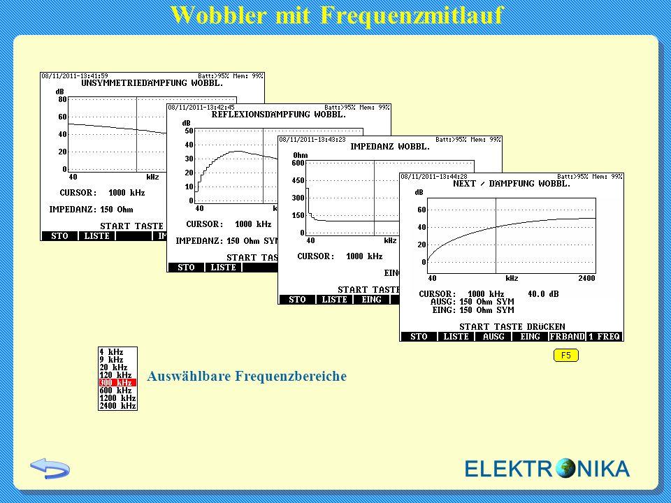 Auswählbare Frequenzbereiche Wobbler mit Frequenzmitlauf ELEKTR NIKA