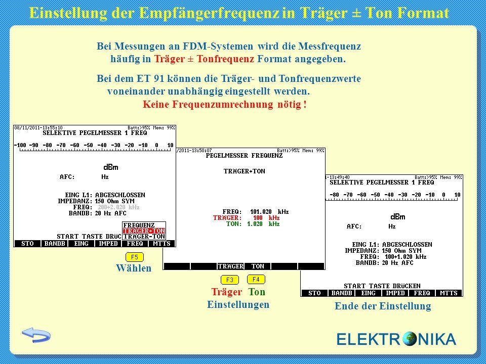 Einstellung der Empfängerfrequenz in Träger ± Ton Format Bei Messungen an FDM-Systemen wird die Messfrequenz häufig in Träger ± Tonfrequenz Format ang
