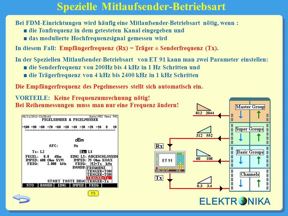 Spezielle Mitlaufsender-Betriebsart Bei FDM-Einrichtungen wird häufig eine Mitlaufsender-Betriebsart nötig, wenn : ■ die Tonfrequenz in dem getesteten Kanal eingegeben und ■ das modulierte Hochfrequenzsignal gemessen wird In diesem Fall: Empfängerfrequenz (Rx) = Träger ± Senderfrequenz (Tx).