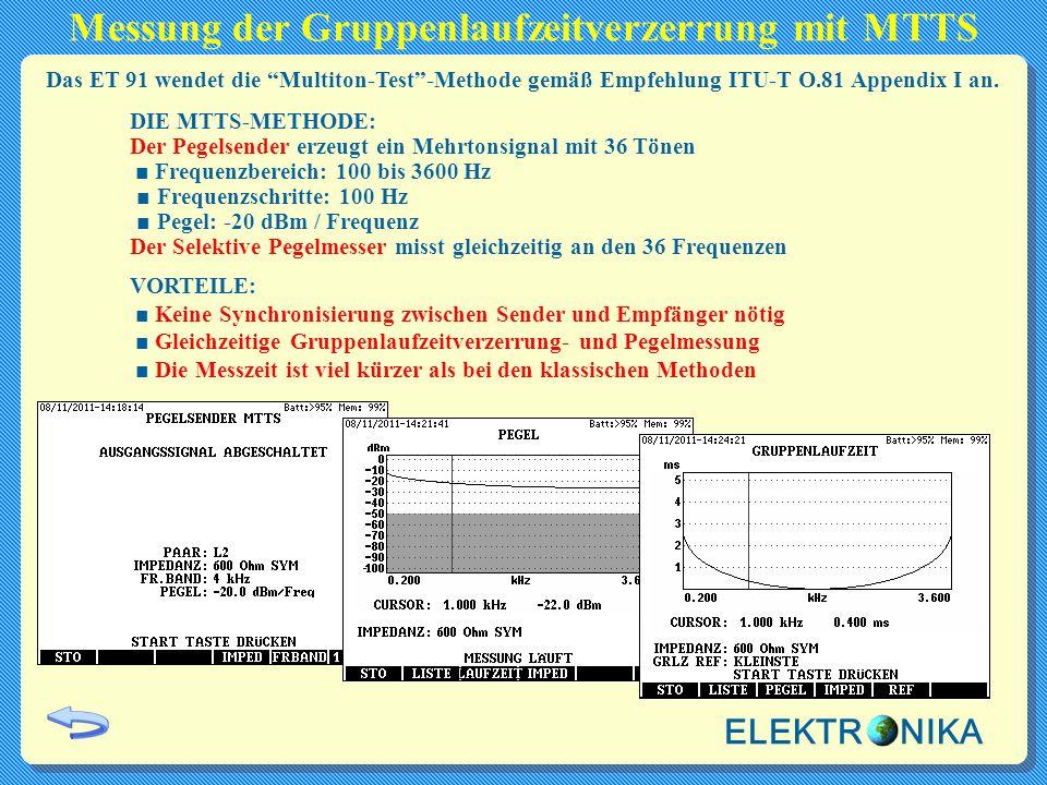 Messung der Gruppenlaufzeitverzerrung mit MTTS DIE MTTS-METHODE: Der Pegelsender erzeugt ein Mehrtonsignal mit 36 Tönen ■ Frequenzbereich: 100 bis 360