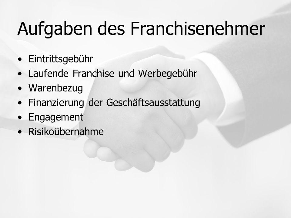 Aufgaben des Franchisenehmer Eintrittsgebühr Laufende Franchise und Werbegebühr Warenbezug Finanzierung der Geschäftsausstattung Engagement Risikoübernahme