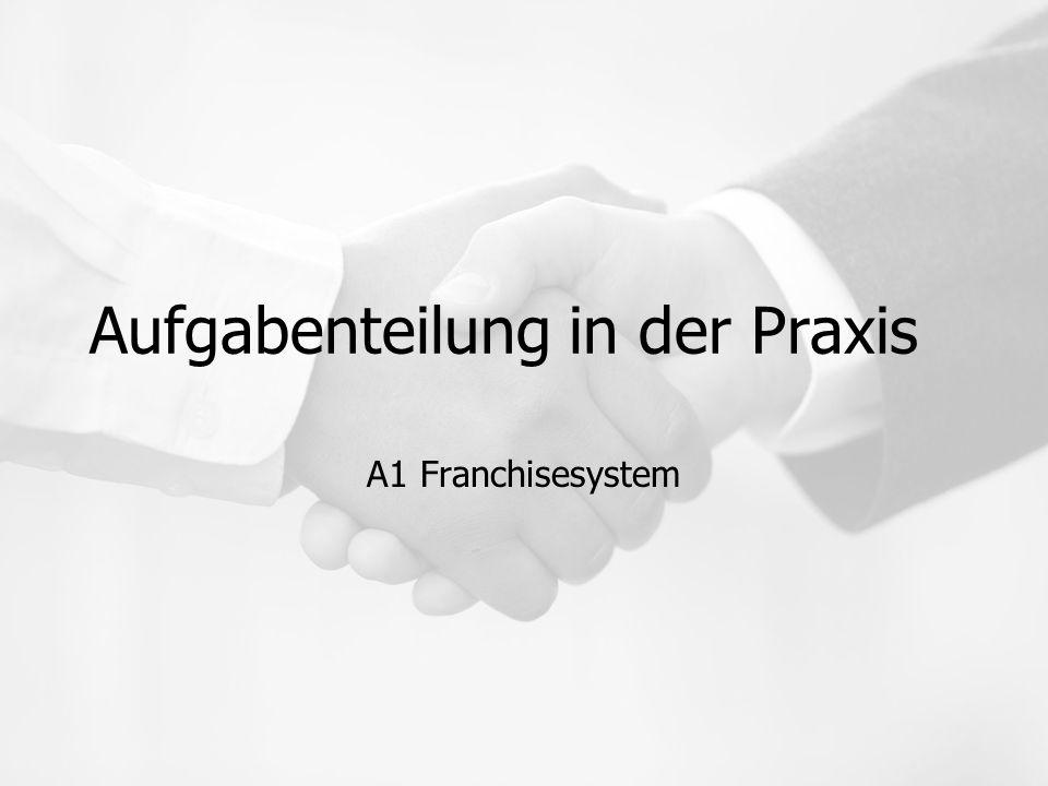 Aufgabenteilung in der Praxis A1 Franchisesystem