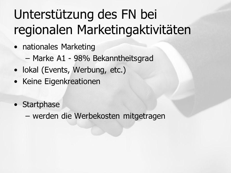 Unterstützung des FN bei regionalen Marketingaktivitäten nationales Marketing –Marke A1 - 98% Bekanntheitsgrad lokal (Events, Werbung, etc.) Keine Eigenkreationen Startphase –werden die Werbekosten mitgetragen