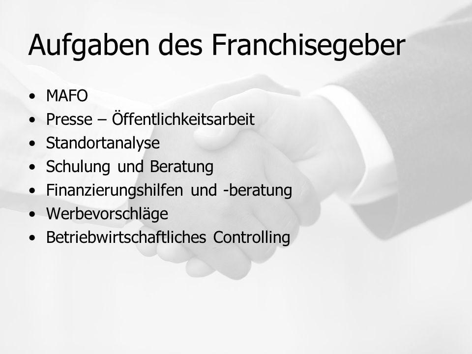 Aufgaben des Franchisegeber MAFO Presse – Öffentlichkeitsarbeit Standortanalyse Schulung und Beratung Finanzierungshilfen und -beratung Werbevorschläg