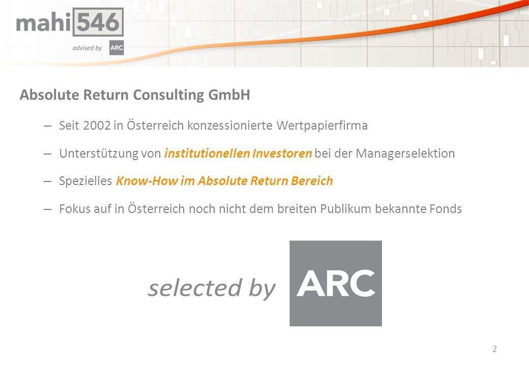 Absolute Return Consulting GmbH – Seit 2002 in Österreich konzessionierte Wertpapierfirma – Unterstützung von institutionellen Investoren bei der Managerselektion – Spezielles Know-How im Absolute Return Bereich – Fokus auf in Österreich noch nicht dem breiten Publikum bekannte Fonds 2