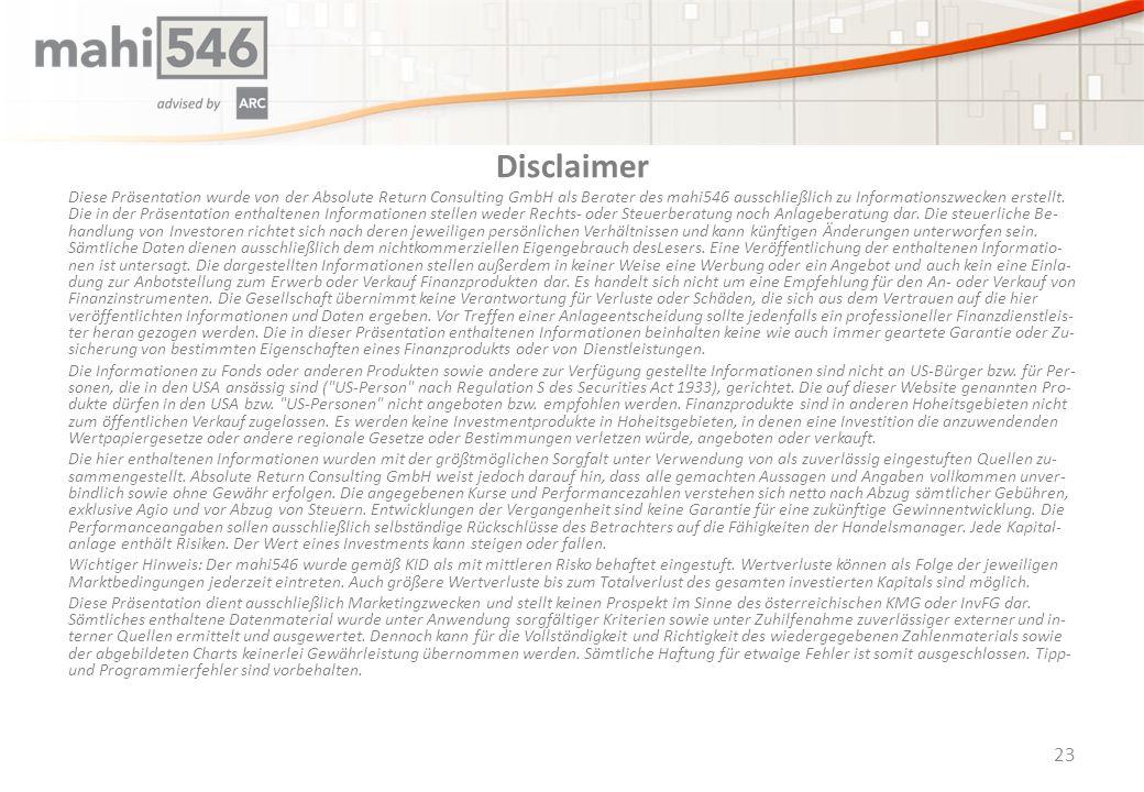 Disclaimer Diese Präsentation wurde von der Absolute Return Consulting GmbH als Berater des mahi546 ausschließlich zu Informationszwecken erstellt.