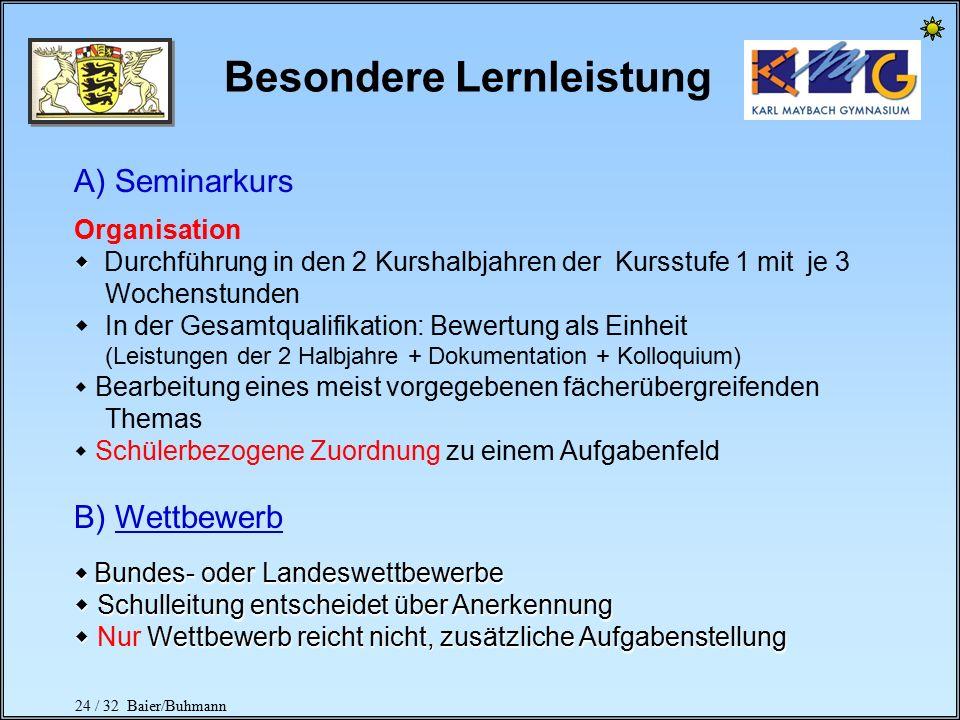 23 / 32 Baier/Buhmann Bilinguale Abschlüsse Kernfach Englisch + Kernfach Bio, Geo, G (4+1-std.) + Schriftliches Abitur in Bio od. Geo od.G Kernfach En
