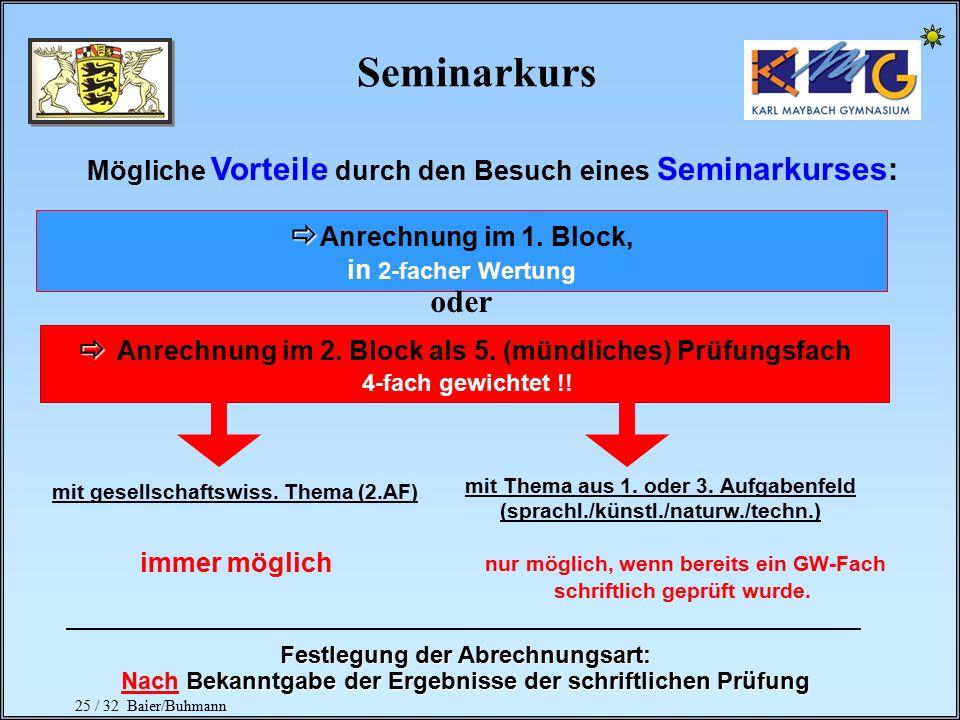24 / 32 Baier/Buhmann Besondere Lernleistung Organisation   Durchführung in den 2 Kurshalbjahren der Kursstufe 1 mit je 3 Wochenstunden  In der Ges