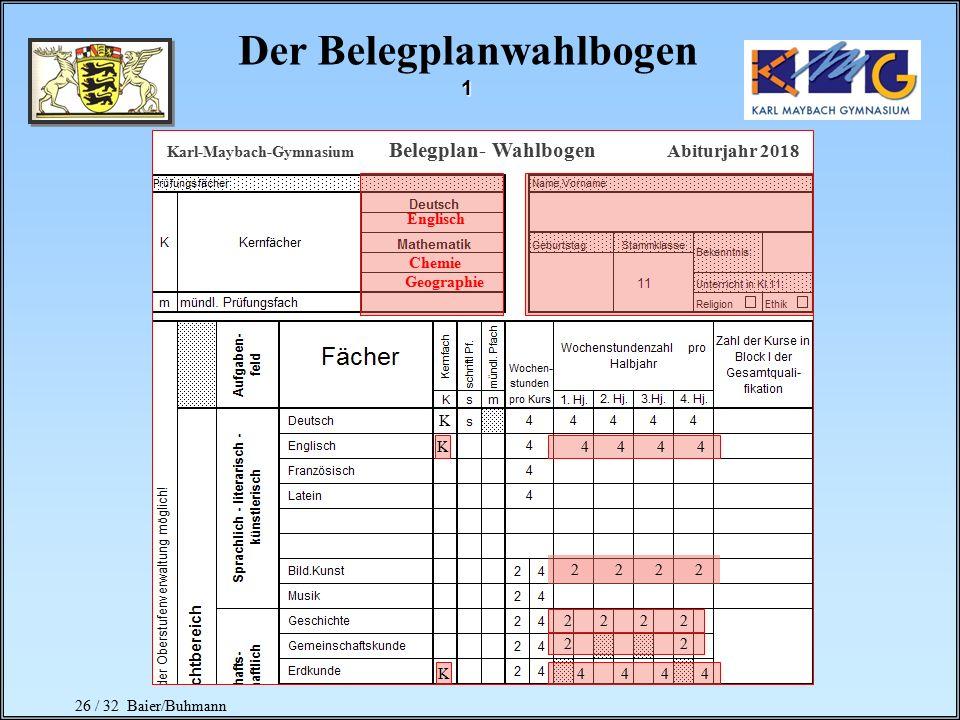 25 / 32 Baier/Buhmann Seminarkurs Mögliche Vorteile durch den Besuch eines Seminarkurses: Festlegung der Abrechnungsart: Bekanntgabe der Ergebnisse de