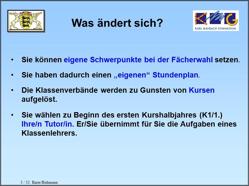 2 / 32 Baier/Buhmann Ziel: Zeugnis der allgemeinen Hochschulreife Abiturprüfungen K2 K1 Kursstufe 1und 2 (=Qualifikationsphase) umfasst 4 Kurshalbjahr