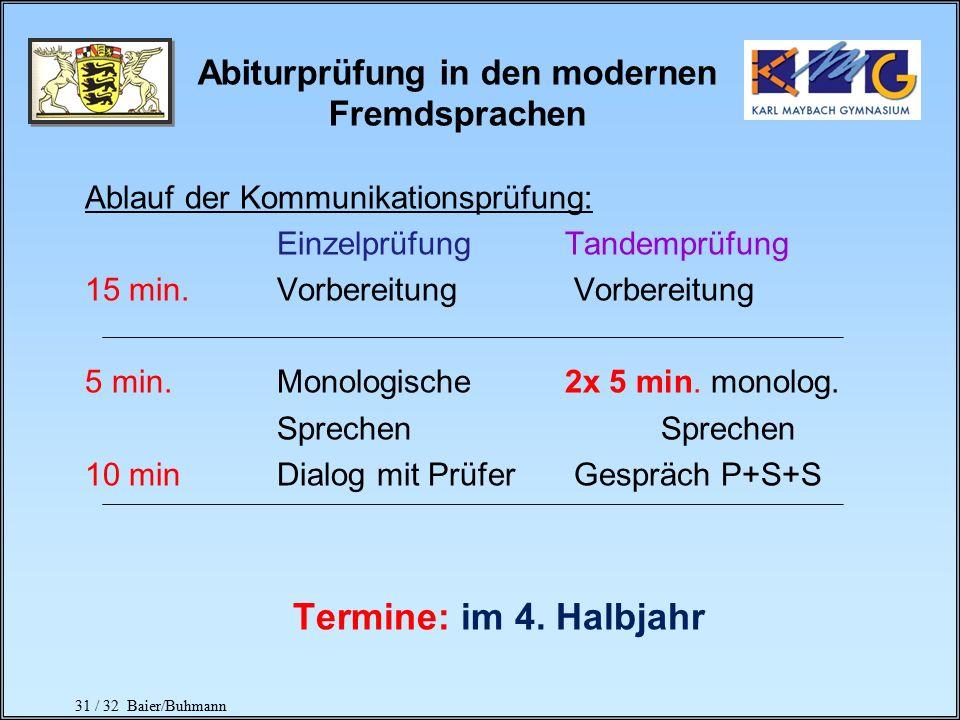 30 / 32 Baier/Buhmann Abiturprüfung in den modernen Fremdsprachen Die schriftliche Abiturprüfung besteht aus: a)Klausur b)Kommunikationsprüfung (Einze