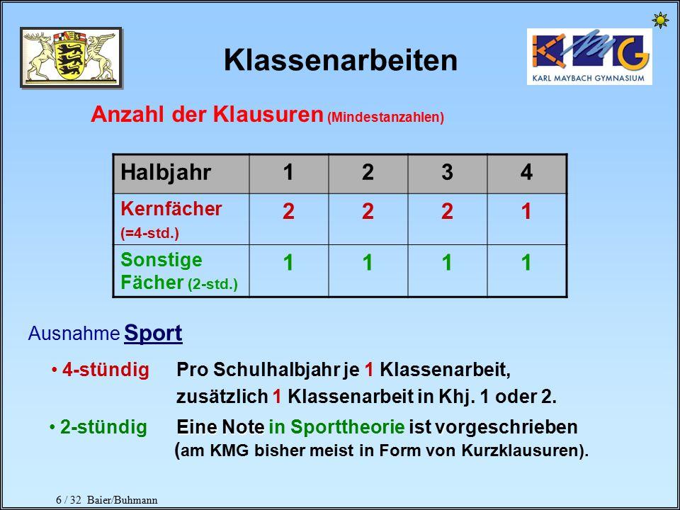 """5 / 32 Baier/Buhmann 0606 Notenskala Nun gibt es N NN Notenpunkte neu Note """"ungenügend"""" bedeutet: Kurs gilt als nicht besucht! Vorsicht! Der Kurs gilt"""