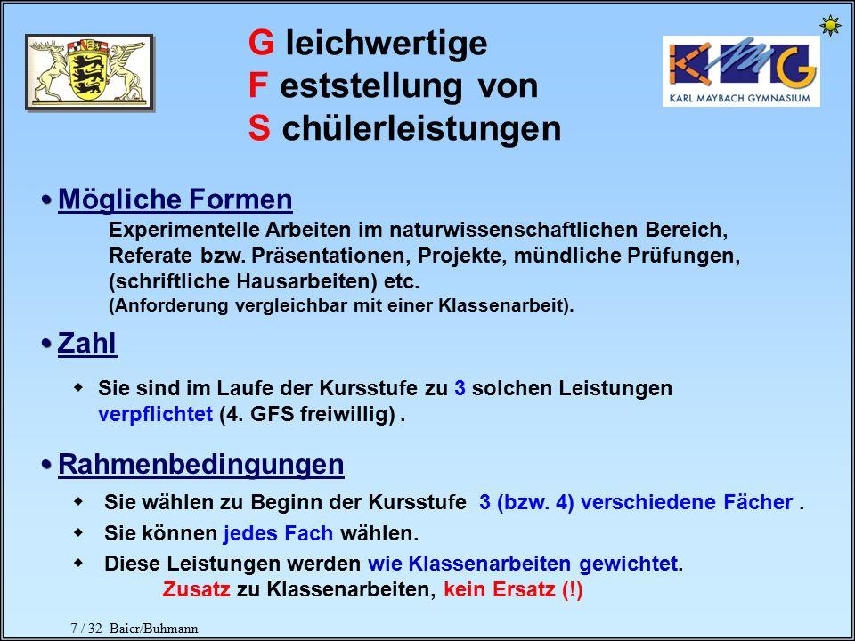 6 / 32 Baier/Buhmann Klassenarbeiten Anzahl der Klausuren (Mindestanzahlen) Ausnahme Sport Pro Schulhalbjahr je 1 Klassenarbeit, zusätzlich 1 Klassena