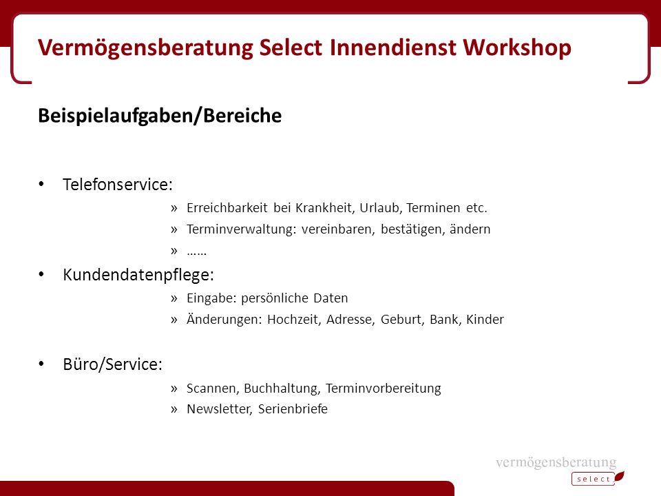 Vermögensberatung Select Innendienst Workshop Beispielaufgaben/Bereiche Telefonservice: » Erreichbarkeit bei Krankheit, Urlaub, Terminen etc. » Termin