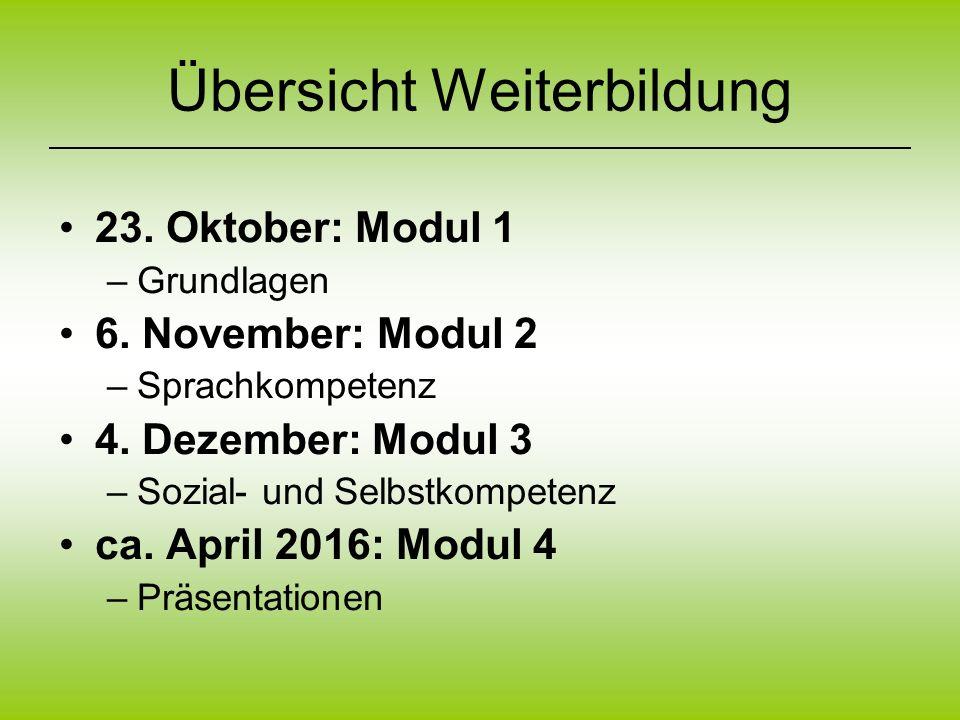 Übersicht Weiterbildung 23. Oktober: Modul 1 –Grundlagen 6. November: Modul 2 –Sprachkompetenz 4. Dezember: Modul 3 –Sozial- und Selbstkompetenz ca. A