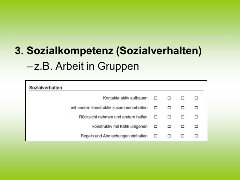 3. Sozialkompetenz (Sozialverhalten) –z.B. Arbeit in Gruppen