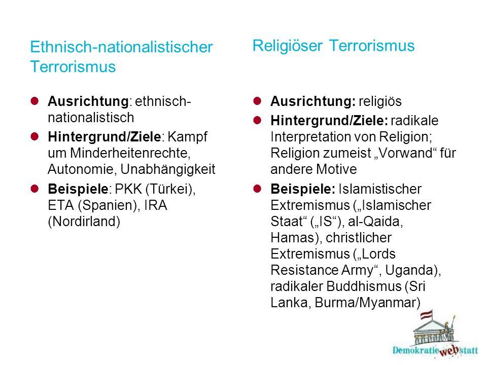Ethnisch-nationalistischer Terrorismus Ausrichtung: ethnisch- nationalistisch Hintergrund/Ziele: Kampf um Minderheitenrechte, Autonomie, Unabhängigkei