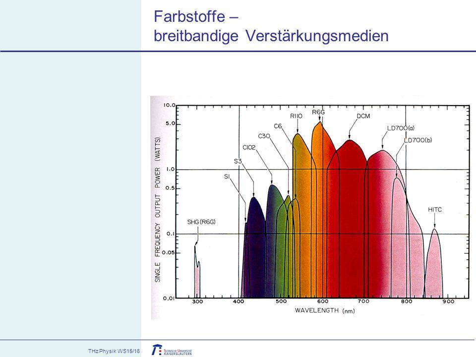 THz Physik WS15/16 Farbstoffe – breitbandige Verstärkungsmedien