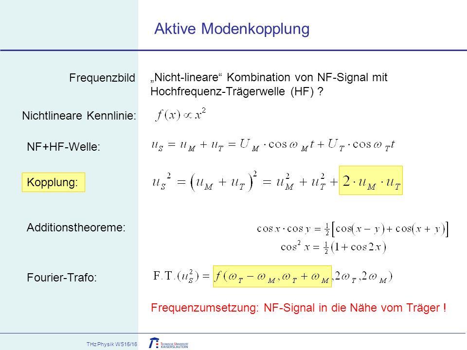 """THz Physik WS15/16 """"Nicht-lineare"""" Kombination von NF-Signal mit Hochfrequenz-Trägerwelle (HF) ? Fourier-Trafo: Nichtlineare Kennlinie: NF+HF-Welle: K"""