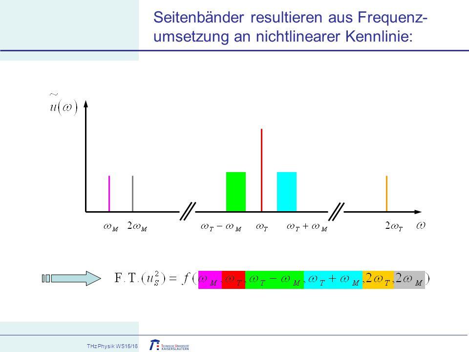 THz Physik WS15/16 Seitenbänder resultieren aus Frequenz- umsetzung an nichtlinearer Kennlinie: