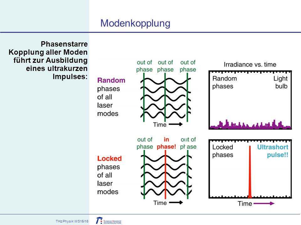 THz Physik WS15/16 Phasenstarre Kopplung aller Moden führt zur Ausbildung eines ultrakurzen Impulses: Modenkopplung