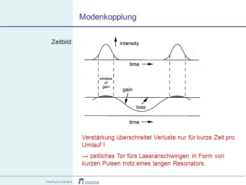 THz Physik WS15/16 Verstärkung überschreitet Verluste nur für kurze Zeit pro Umlauf ! → zeitliches Tor fürs Laseranschwingen in Form von kurzen Pulsen