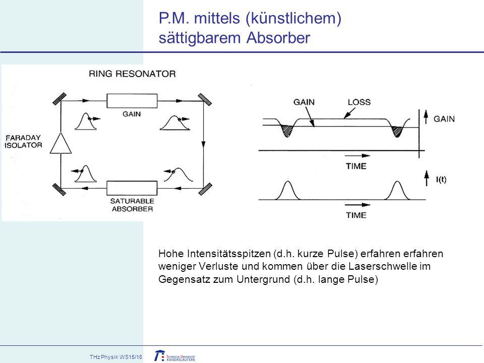 THz Physik WS15/16 Hohe Intensitätsspitzen (d.h. kurze Pulse) erfahren erfahren weniger Verluste und kommen über die Laserschwelle im Gegensatz zum Un
