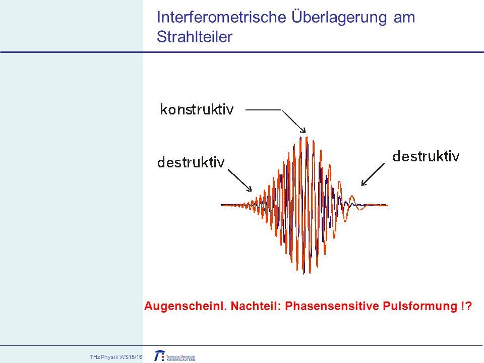 THz Physik WS15/16 Interferometrische Überlagerung am Strahlteiler Augenscheinl. Nachteil: Phasensensitive Pulsformung !?