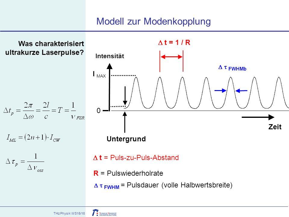 THz Physik WS15/16 Was charakterisiert ultrakurze Laserpulse? Zeit  t = 1 / R   FWHMb I MAX 0 Intensität Untergrund  t = Puls-zu-Puls-Abstand R =