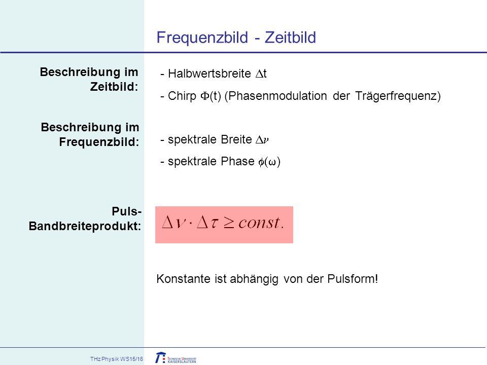 THz Physik WS15/16 Frequenzbild - Zeitbild - Halbwertsbreite  t - Chirp  (t) (Phasenmodulation der Trägerfrequenz) - spektrale Breite  - spektrale