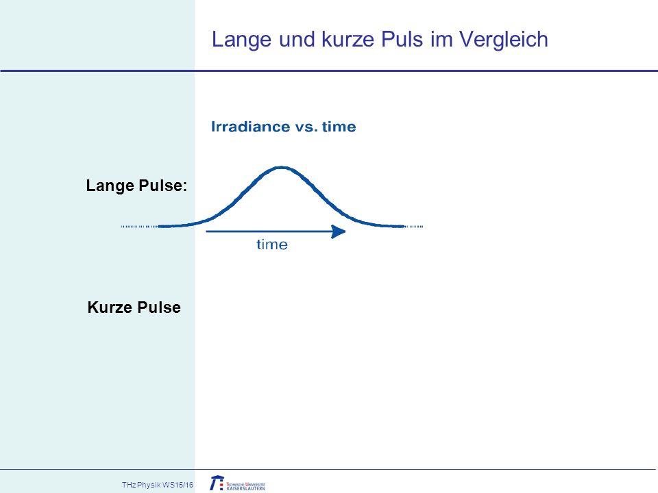 THz Physik WS15/16 Lange und kurze Puls im Vergleich Lange Pulse: Kurze Pulse