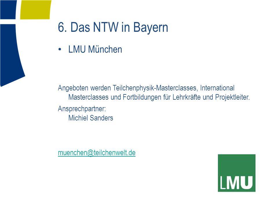 LMU München Angeboten werden Teilchenphysik-Masterclasses, International Masterclasses und Fortbildungen für Lehrkräfte und Projektleiter. Ansprechpar