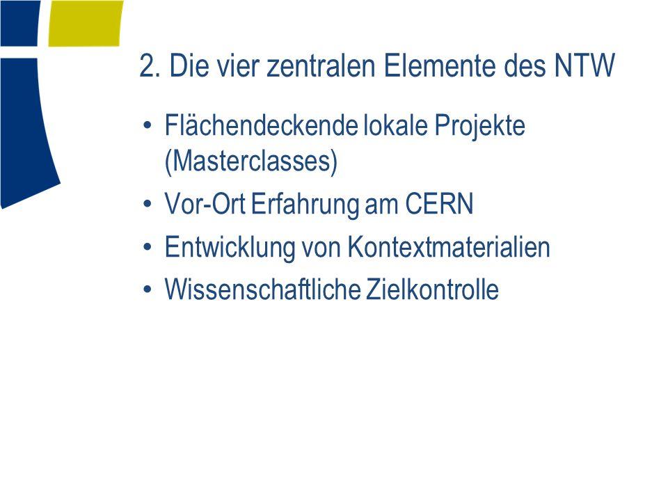 Flächendeckende lokale Projekte (Masterclasses) Vor-Ort Erfahrung am CERN Entwicklung von Kontextmaterialien Wissenschaftliche Zielkontrolle 2. Die vi
