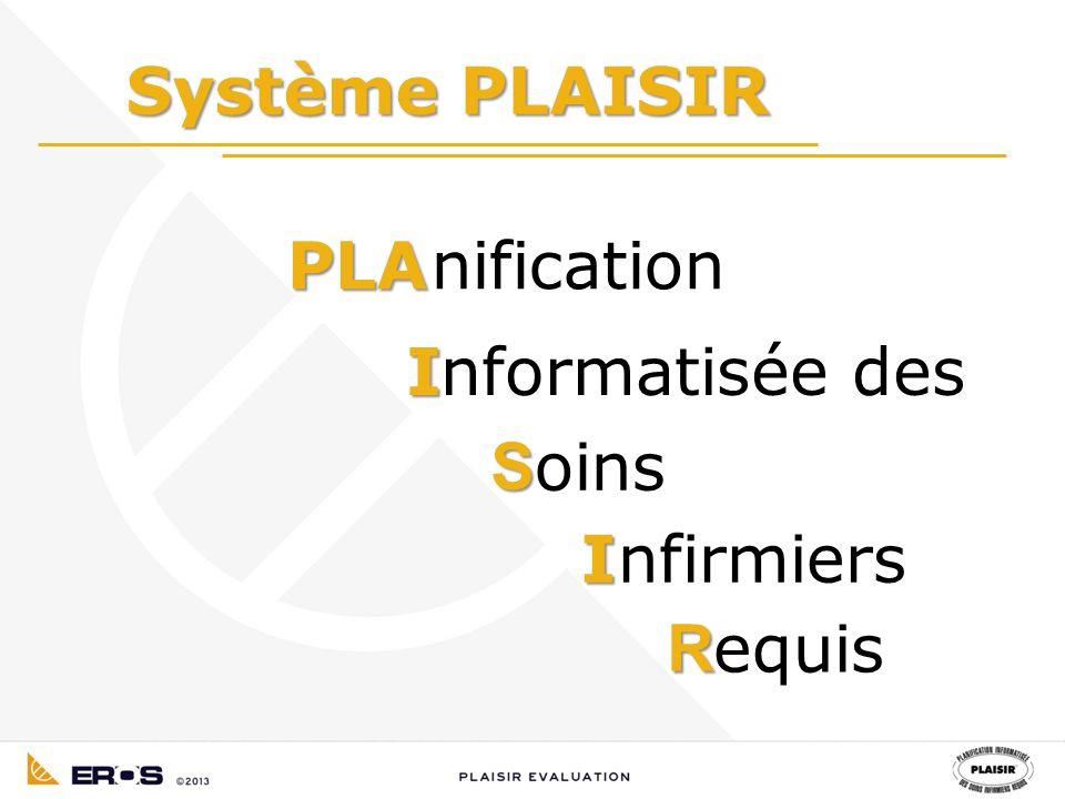 Système PLAISIR PLAnification Informatisée des I R S oins nfirmiers equis