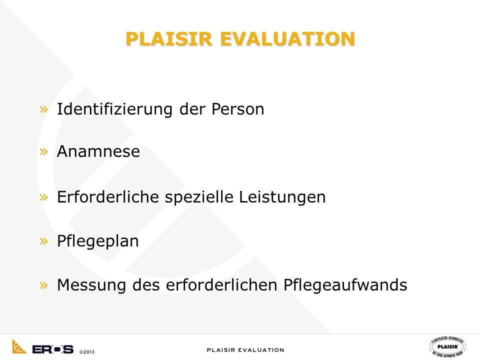 PLAISIR EVALUATION »Identifizierung der Person »Anamnese »Erforderliche spezielle Leistungen »Pflegeplan »Messung des erforderlichen Pflegeaufwands