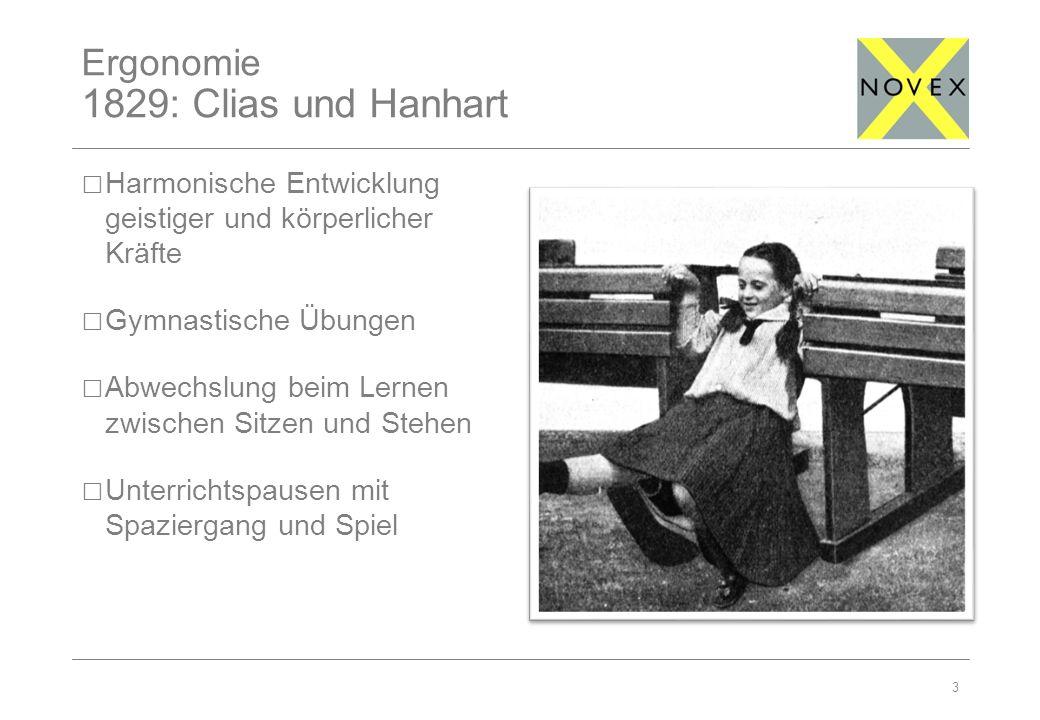 Ergonomie 1829: Clias und Hanhart 3 Harmonische Entwicklung geistiger und körperlicher Kräfte Gymnastische Übungen Abwechslung beim Lernen zwischen Sitzen und Stehen Unterrichtspausen mit Spaziergang und Spiel