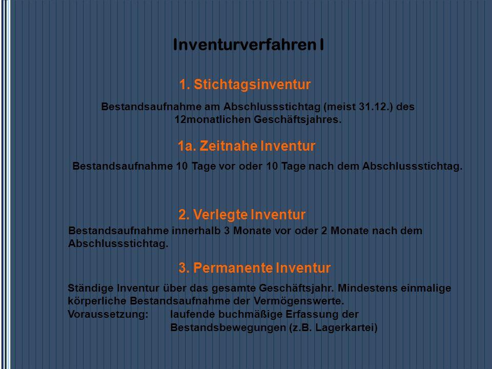1a. Zeitnahe Inventur Bestandsaufnahme 10 Tage vor oder 10 Tage nach dem Abschlussstichtag. 2. Verlegte Inventur Bestandsaufnahme innerhalb 3 Monate v