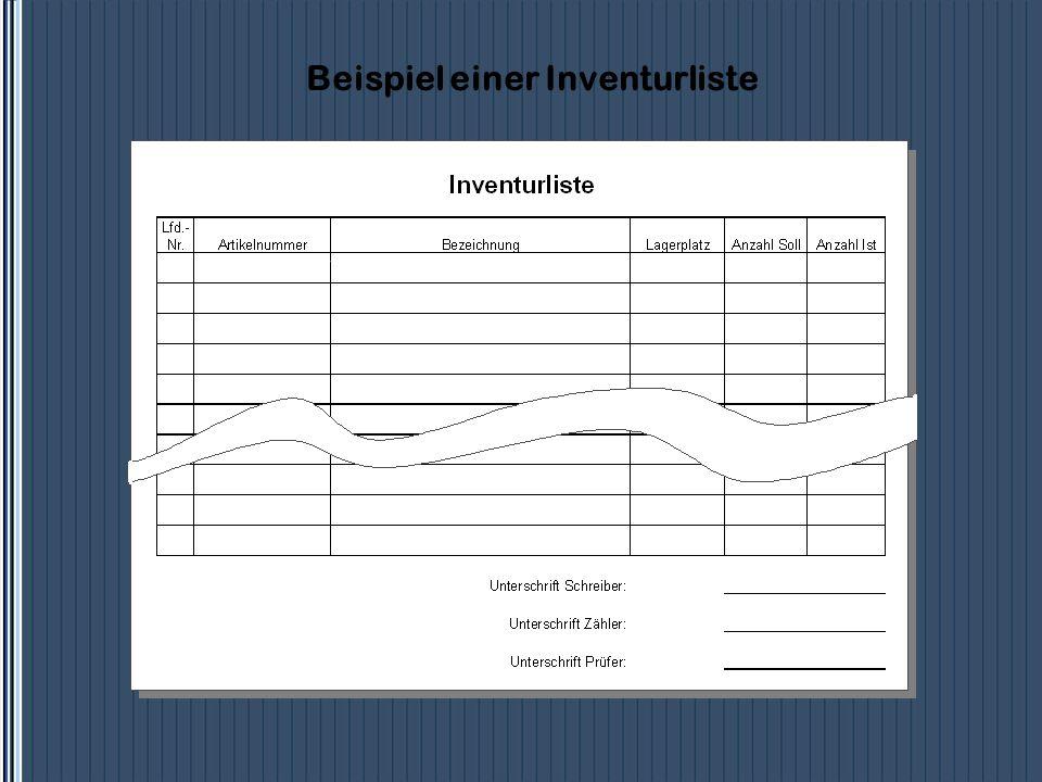 Beispiel einer Inventurliste 167-1005-453AntriebswelleB 0411348282