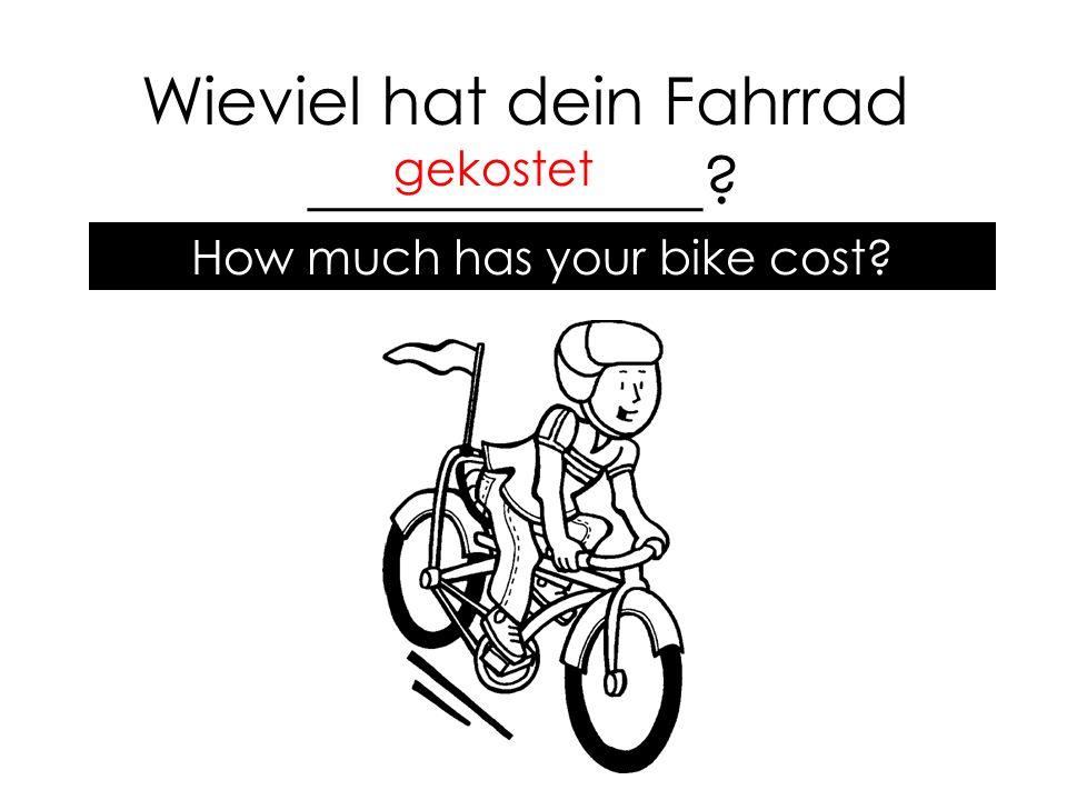 Wieviel hat dein Fahrrad ____________ gekostet How much has your bike cost
