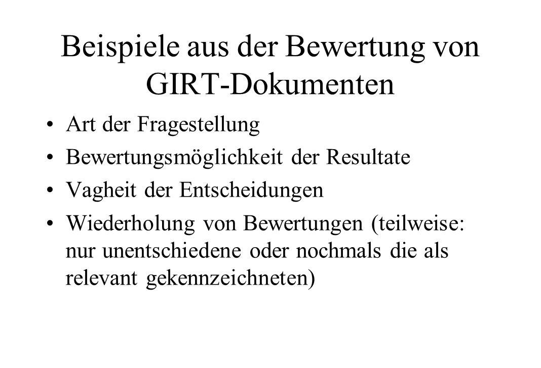 Beispiele aus der Bewertung von GIRT-Dokumenten Art der Fragestellung Bewertungsmöglichkeit der Resultate Vagheit der Entscheidungen Wiederholung von Bewertungen (teilweise: nur unentschiedene oder nochmals die als relevant gekennzeichneten)
