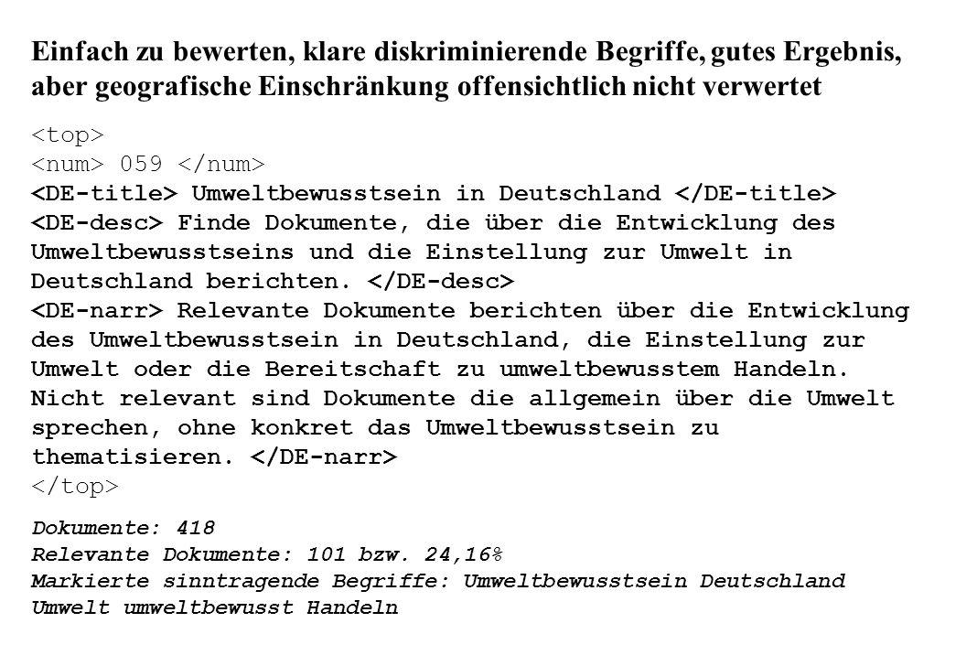 Einfach zu bewerten, klare diskriminierende Begriffe, gutes Ergebnis, aber geografische Einschränkung offensichtlich nicht verwertet 059 Umweltbewusstsein in Deutschland Finde Dokumente, die über die Entwicklung des Umweltbewusstseins und die Einstellung zur Umwelt in Deutschland berichten.