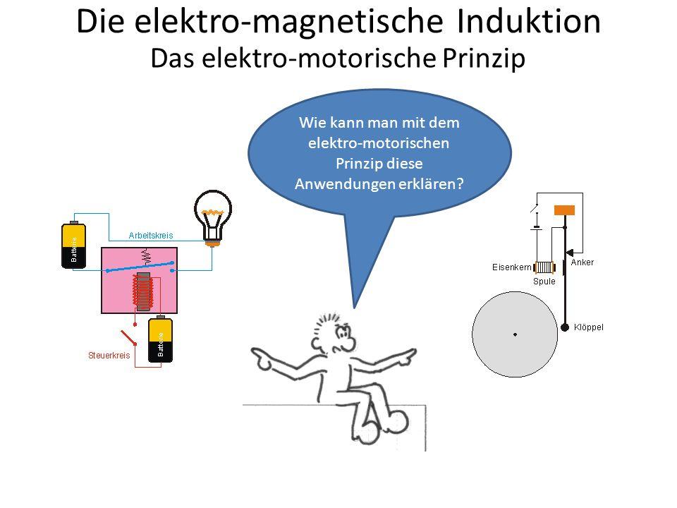 Die elektro-magnetische Induktion Das elektro-motorische Prinzip Einschalten Das Relais hat die Aufgabe, einen Arbeitsstromkreis über einen Steuerstromkreis zu steuern Dazu hat der Steuerstromkreis einen An- und Ausschalter … Schalter Der Arbeitsstromkreis wird durch das e.-m.