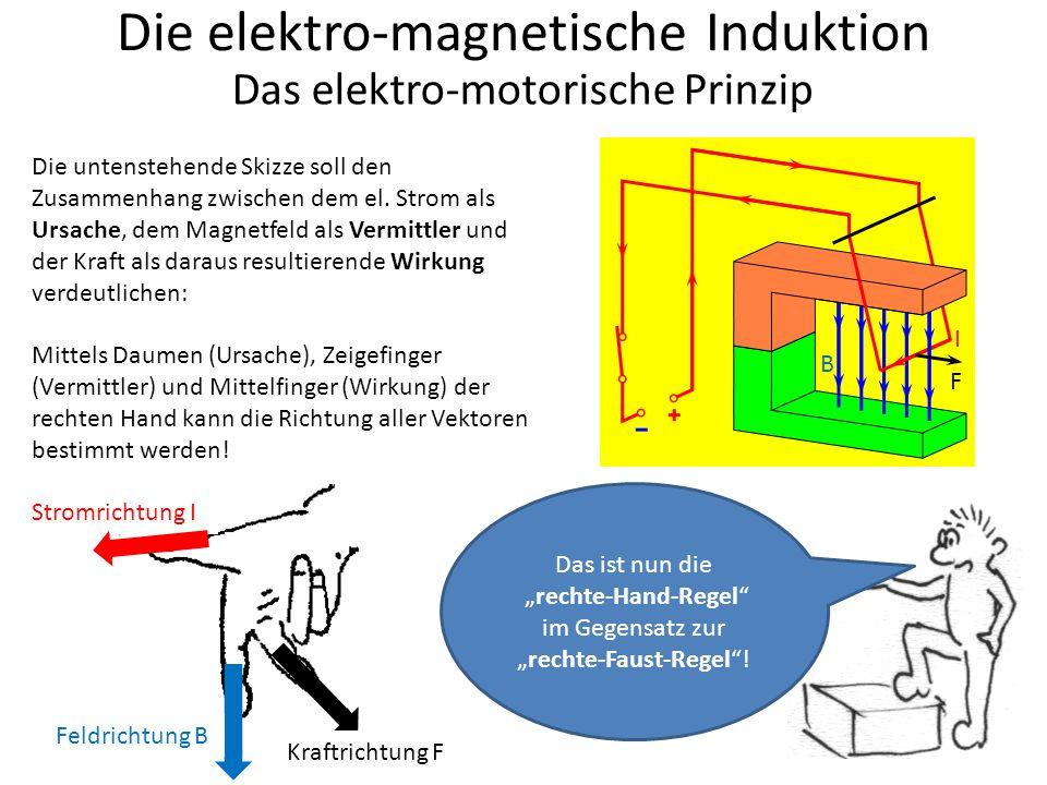 """Die elektro-magnetische Induktion Das elektro-motorische Prinzip Das ist nun die """"rechte-Hand-Regel im Gegensatz zur """"rechte-Faust-Regel ."""