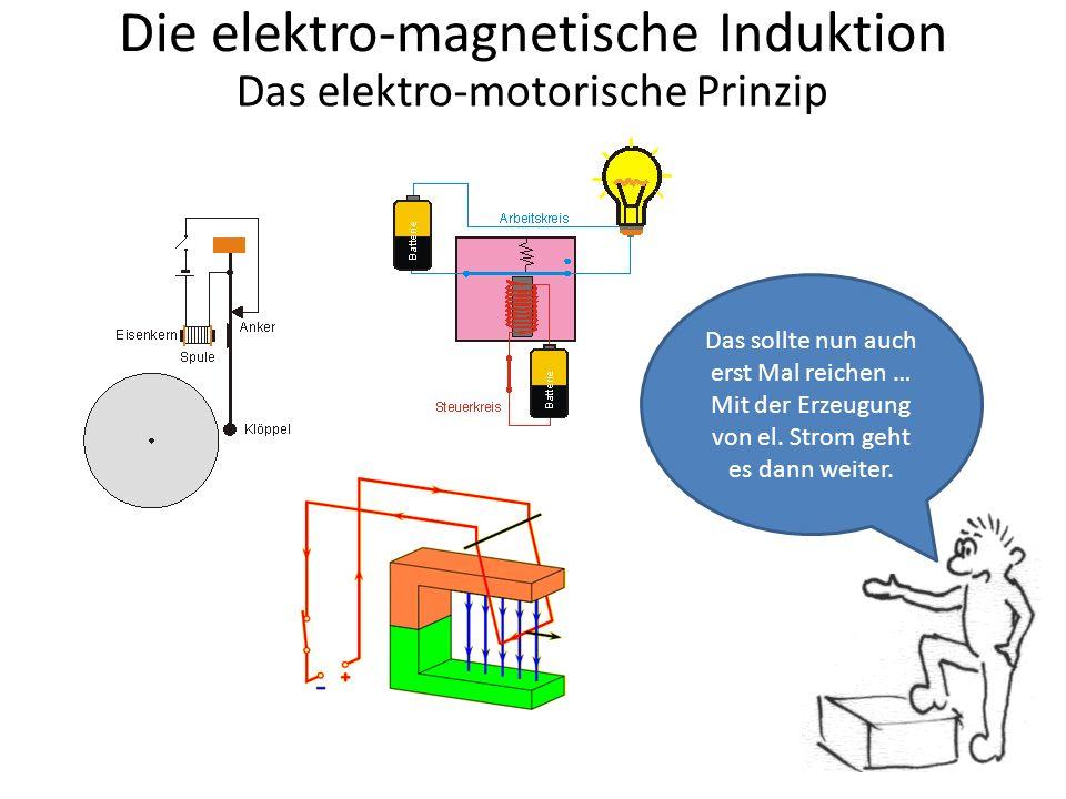 Die elektro-magnetische Induktion Das elektro-motorische Prinzip Das sollte nun auch erst Mal reichen … Mit der Erzeugung von el.