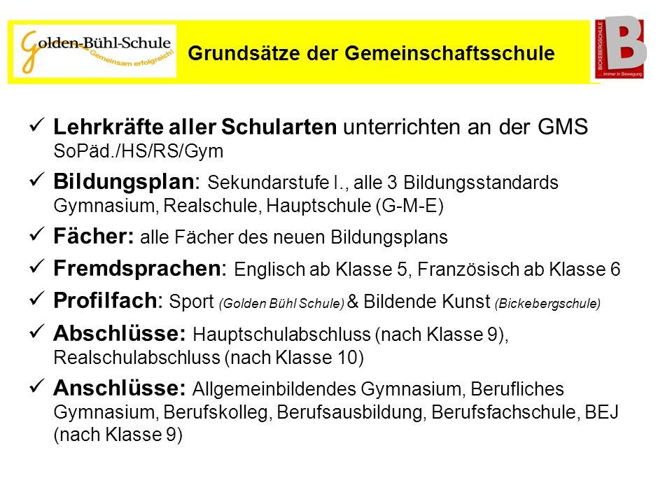 Lehrkräfte aller Schularten unterrichten an der GMS SoPäd./HS/RS/Gym Bildungsplan: Sekundarstufe I., alle 3 Bildungsstandards Gymnasium, Realschule, H