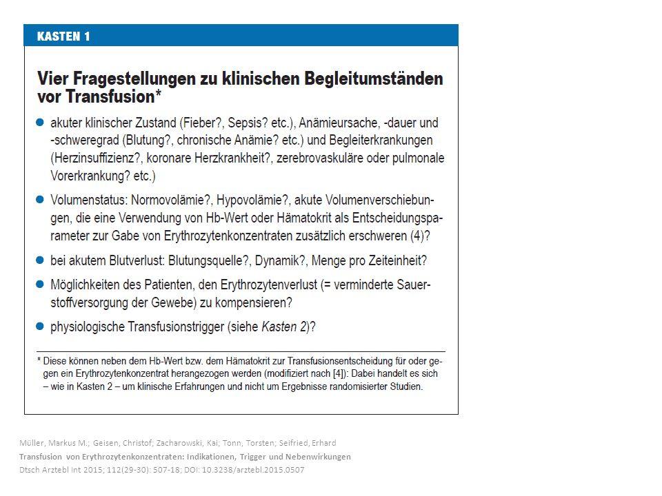 Müller, Markus M.; Geisen, Christof; Zacharowski, Kai; Tonn, Torsten; Seifried, Erhard Transfusion von Erythrozytenkonzentraten: Indikationen, Trigger