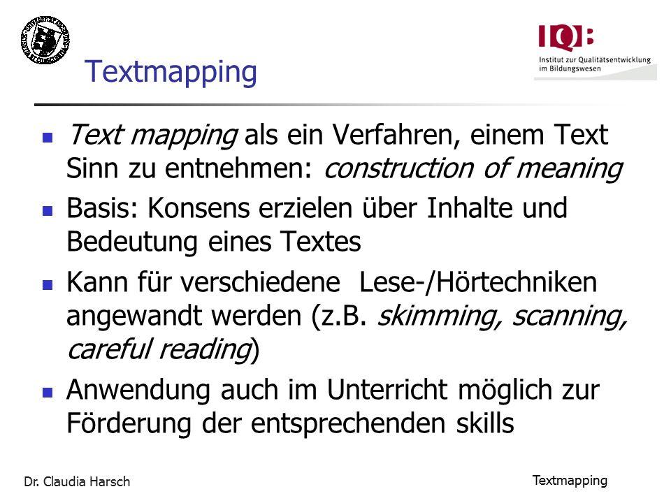 Dr. Claudia Harsch Textmapping Text mapping als ein Verfahren, einem Text Sinn zu entnehmen: construction of meaning Basis: Konsens erzielen über Inha